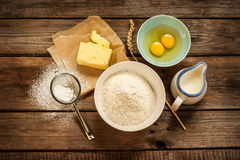 Free Dough Recipe Ingredients On Vintage Rural Wood Kitchen Table Stock Image - 35680781