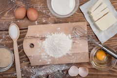 Dough recipe ingredients on rural wood kitchen table Royalty Free Stock Photography
