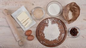 Dough recipe ingredients on rural wood kitchen table Stock Photography