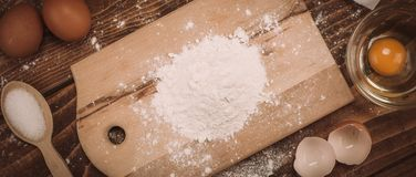 Dough recipe ingredients on vintage rural wood kitchen table Stock Photography