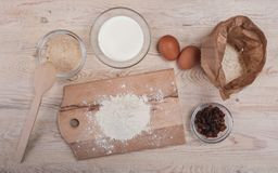 Dough recipe ingredients on rural wood kitchen table Stock Images