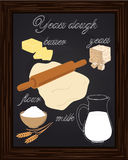 Dough recipe yeast with milk, butter, flour, Stock Images