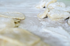 The dough rolled with circles, sprinkled flour. Stock Photos
