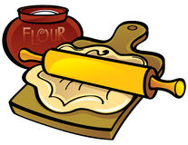 Dough with Rolling Pin. Dough on wooden desk with Rolling Pin Stock Image