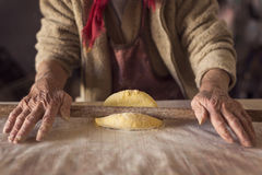 Dough and a rolling pin royalty free stock photos