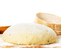 Dough with rolling pin Royalty Free Stock Images