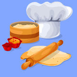 Dough and rolling pin on a wooden board. Chef Chef Cap. Stock Photos