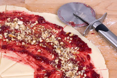 Dough for Rugelach with Raspberry jam Stock Photos