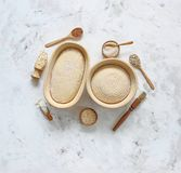 Dough for bread on leaven, yeast, in baskets for proofing dough. The dough for sourdough bread, the yeast in baskets made of rattan for proofing dough royalty free stock photo