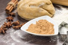 Dough with spices and cookie cutters Royalty Free Stock Photos