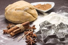Dough with spices and cookie cutters Royalty Free Stock Images