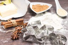 Dough with spices and cookie cutters Stock Image