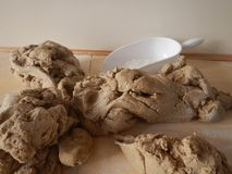 Dough spread out to dry stock image