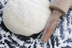 Dough sprinkled with flour. stock photography