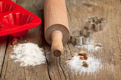 Dough, sugar and rolling-pin Royalty Free Stock Photo