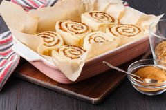 Dough for sweet cinnamon buns stock images