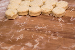 Dough on a table with flour Royalty Free Stock Photography