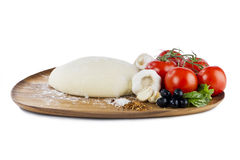 Dough tomato black olives mushrooms Royalty Free Stock Photos