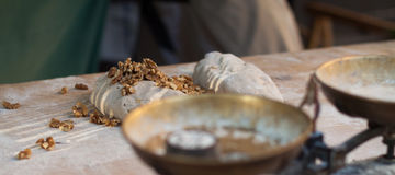 The dough with walnuts Royalty Free Stock Photos