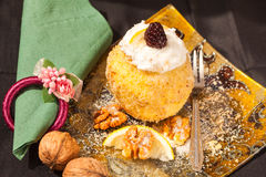 Dough and walnuts dessert Royalty Free Stock Photo