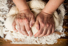 Dough_19. Woman's hands knead the dough Royalty Free Stock Photography