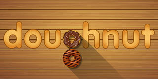 Doughnut λέξη με τη τοπ άποψη doughnuts σοκολάτας Στοκ Εικόνες