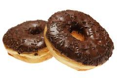 doughnut δύο σύνθεσης σοκολάτα& Στοκ φωτογραφία με δικαίωμα ελεύθερης χρήσης