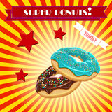 Doughnut διανυσματικό εκλεκτής ποιότητας έμβλημα, υπόβαθρο Στοκ εικόνες με δικαίωμα ελεύθερης χρήσης