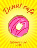 Doughnut διανυσματικό εκλεκτής ποιότητας έμβλημα, υπόβαθρο Στοκ Εικόνες