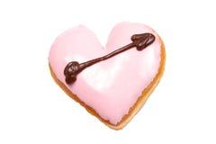 doughnut καρδιά που διαμορφώνετ&a Στοκ Φωτογραφία