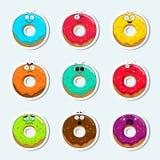 Doughnut κινούμενων σχεδίων χαριτωμένα εικονίδια προσώπου χαρακτήρα Στοκ Εικόνες