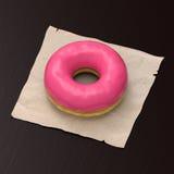 Doughnut με τη ρόδινη τοποθέτηση υαλοπινάκων στοκ εικόνα με δικαίωμα ελεύθερης χρήσης