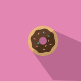 Doughnut με τη σοκολάτα που παγώνει τη διανυσματική απεικόνιση Στοκ Εικόνες