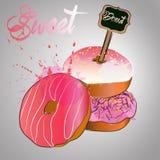 Doughnut με το ροζ που βερνικώνεται διάνυσμα Στοκ εικόνα με δικαίωμα ελεύθερης χρήσης