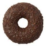 Doughnut σοκολάτας με ψεκάζει απομονωμένος στο άσπρο υπόβαθρο στοκ εικόνες με δικαίωμα ελεύθερης χρήσης