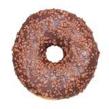 doughnut σοκολάτας ανασκόπησης απομόνωσε το λευκό απομονωμένος Στοκ Εικόνες