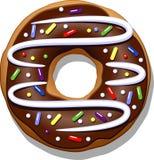 doughnut σοκολάτας ανασκόπησης απομόνωσε το λευκό Στοκ Εικόνα