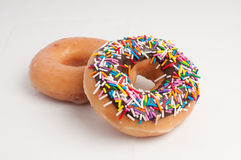 Doughnut. Ring shaped chocolate doughnut placed on white background Royalty Free Stock Photos