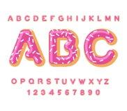 Doughnut ABC αλφάβητο πιτών Ψημένος στις επιστολές πετρελαίου πάγωμα και ψέκασμα Εδώδιμη τυπογραφία Εγγραφή τροφίμων Doughnut πηγ Στοκ Εικόνες