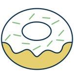 Doughnut, Banketbakkerij Geïsoleerd Vectorpictogram voor Partij en Viering royalty-vrije illustratie