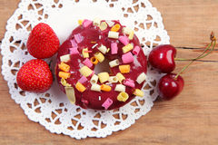 Doughnut and berry Royalty Free Stock Photo