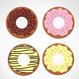 Doughnut Cartoon Illustration with Different Topping Stock Photos
