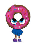 Doughnut cartoon girl Stock Image