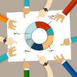 Doughnut circle chart hand drawing sketch analysis. team member together working discuss in a meeting hands pointing to Stock Images