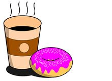 Doughnut with Coffee. A tasty doughnut with a huge cup of coffee Stock Photo