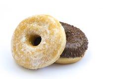 Doughnut couple. A couple of donuts, vanilla and choco Stock Photos