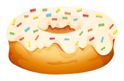 Doughnut with cream frosting. Illustration vector illustration