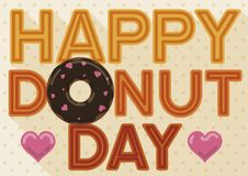 Doughnut Decorated with Hearts and Sign for Donut Day Celebration, Vector Illustration. Commemorative sign in flat style and long shadow with delicious doughnut vector illustration