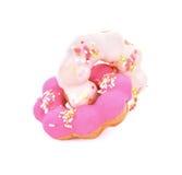 Doughnut die op witte achtergrond wordt geïsoleerd Stock Foto's