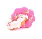 Doughnut die op witte achtergrond wordt geïsoleerd Royalty-vrije Stock Foto's